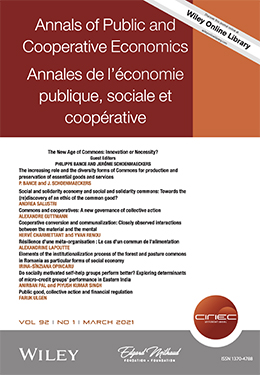 """Special issue in free access of Annals of Public and Cooperative Economics on: """"How do commons contribute to guarantee access to essential public goods and services"""""""
